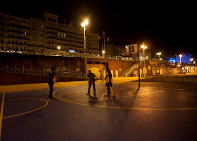 brighton, basketball court, night