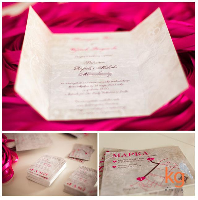 oryginalne, nietypowe zaproszenia ślubne. vintage, malinowy, indywidualny projekt, artystyczne zaproszenie, RSVP, mapka dojazdu