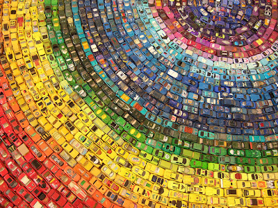 rainbow design - car - creative rainbow art
