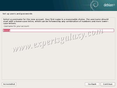 Debian Linux Setup Username