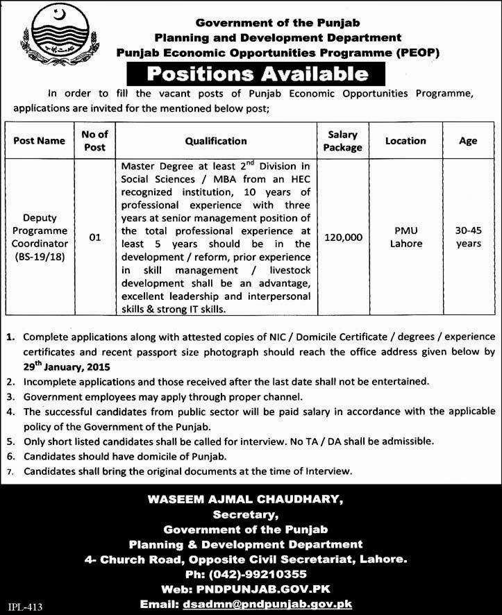Govt Of Punjab Pakistan Jobs
