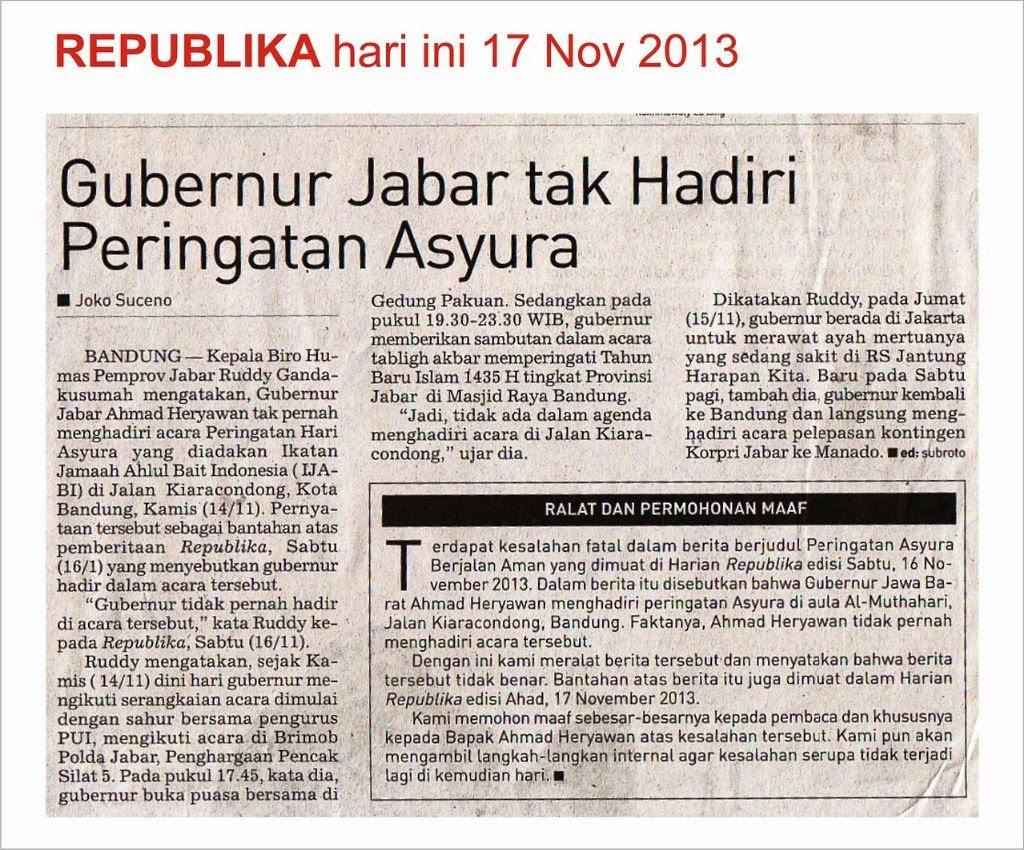 Syiah Dlm Berita : Koran Republika Melakukan Kesalahan Fatal