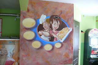 Aranżacja pizzeri, malowanie obrazu na ścianie dla poprawy wyglądu pizzerii