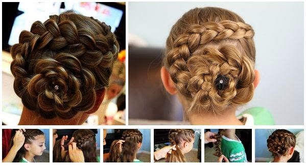 Rose Bud Flower Braid Hairstyle Tutorial For Girls