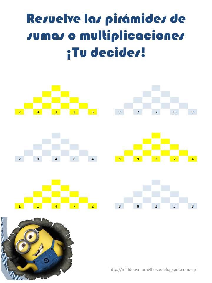 Pirámides de multiplicaciones y sumas con los Minions (imprime ...