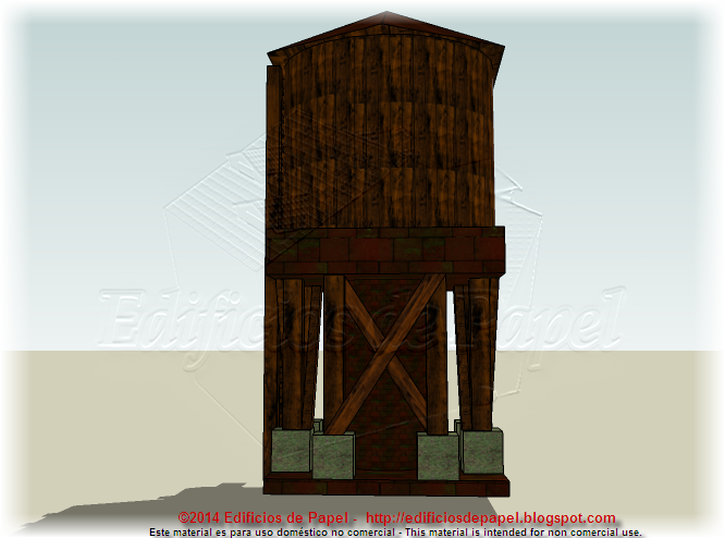 Rear view of the wooden water tank
