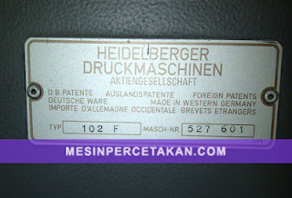 Heidelberg SM 102 - 5 Color - Serial Number