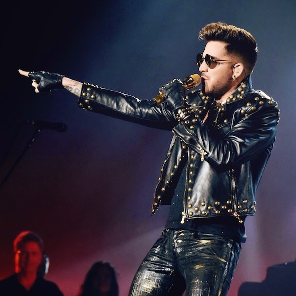 Adam Lambert in Versace Fall Winter 2014 gold studded leather jacket - Queen + Adam Lambert At The Forum July 2014