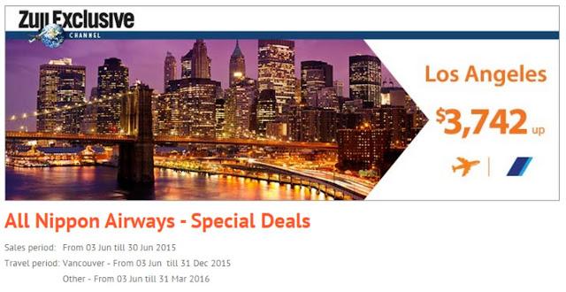 ANA 全日空 美加航線優惠, 洛杉磯 、 三藩市 、 紐約 、 溫哥華 HK$3742起!