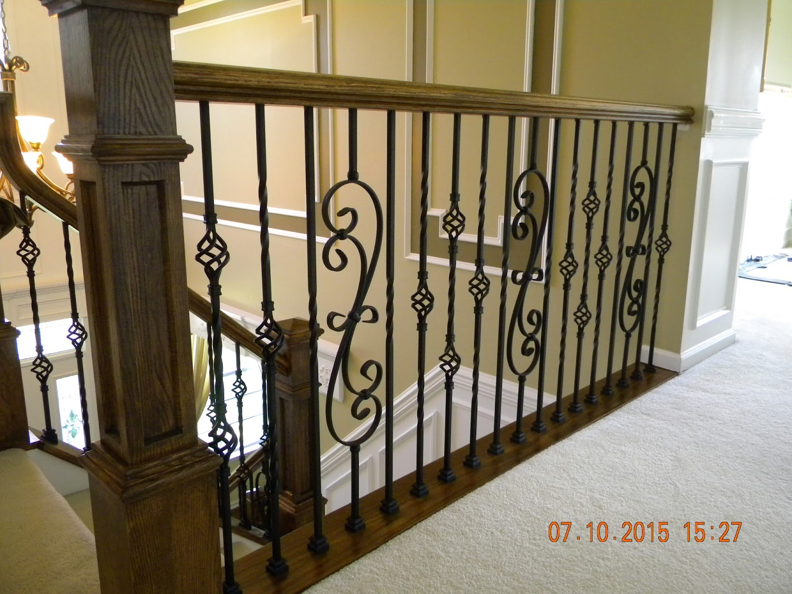 Wood stairs and rails and iron balusters iron balusters box newels oak handrail blue bell pa - Give home signature look elegant balustrades ...
