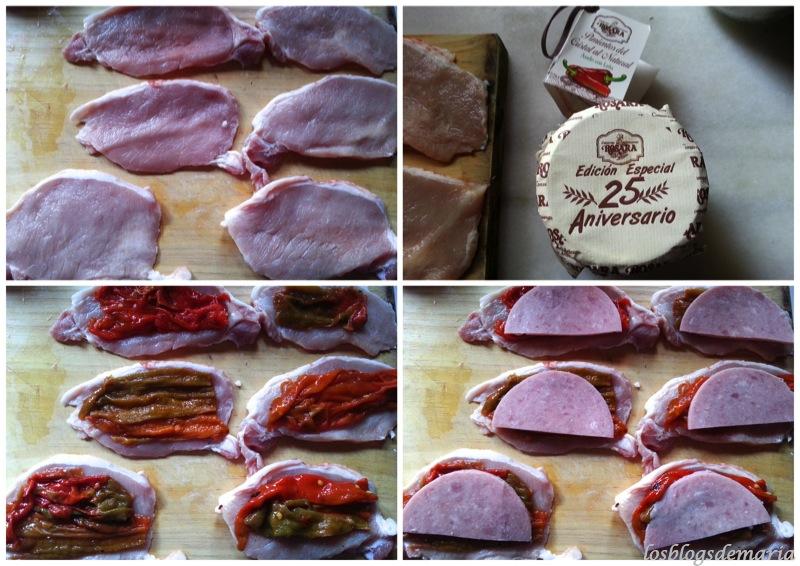 Lomos rellenos de pimientos rosara con salsa a la mostaza de hierbas
