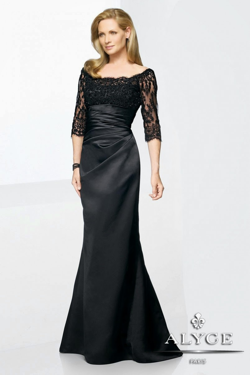 Mother of the Bride Dresses - Off the shoulder 3/4 length sleeves and gathered waist