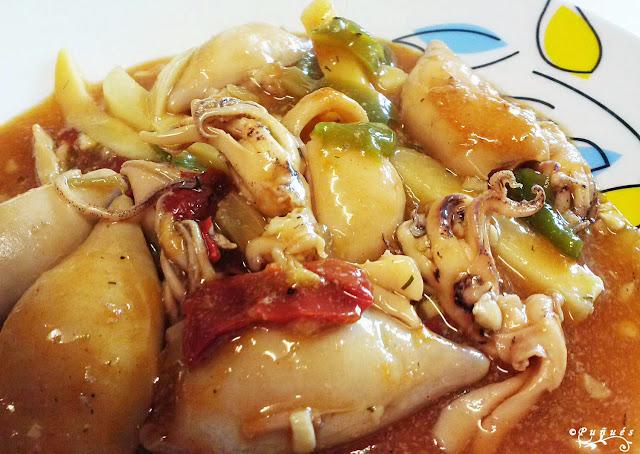 azafrán, caseras, Chipirones, cocina, patatas, pescado, receta, recetas, salsa,