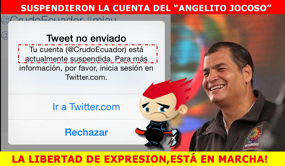 cuenta de Twitter de Crudo Ecuador suspendida