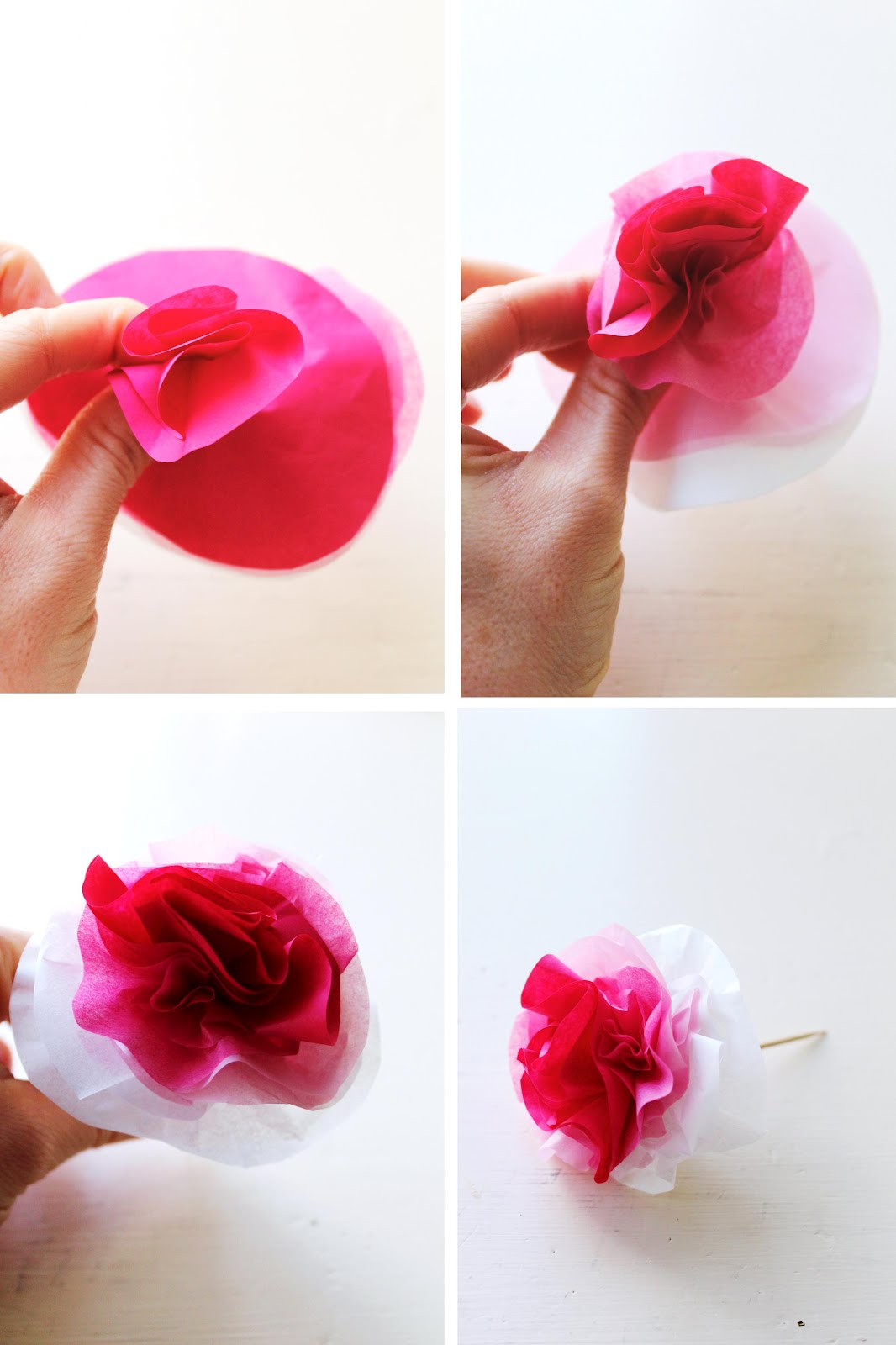 Icing designs diy ombre tissue paper flowers repeat this with all of the layers until you have yourself a little flower these look adorable in mini cupcakes and you can make them as big or small as mightylinksfo