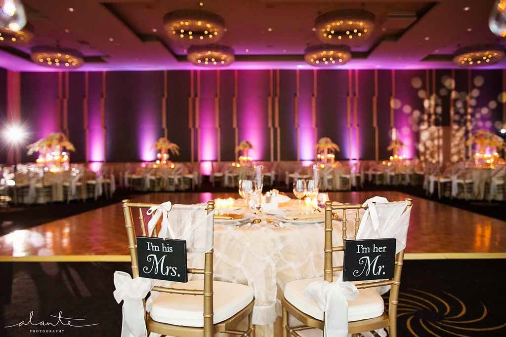 Four Seasons Hotel Seattle wedding, luxury wedding reception, lighting