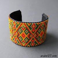 """Схема браслета """"Осенний орнамент"""" - мозаичное плетение / free peyote pattern - peyote bracelet"""