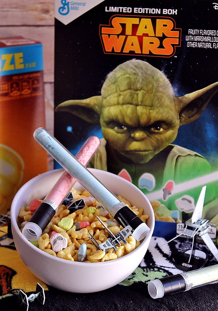 D.I.Y. Cereal Milk Light Sabers- Colored cereal milk from powdered milk light sabers, enjoy your favorite Star Wars™ cereal anywhere! #AwakenYourTastebuds with StarWars™ limited edition General Mills cereals from Walmart, Star Wars™ Recipes, party ideas and more! (ad)