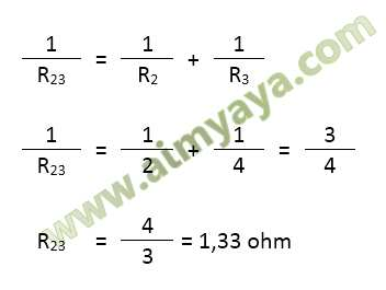 Gambar: Contoh menghitung total hambatan pada rangkaian kombinasi