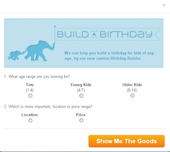 PlaceFull Build A Birthday option