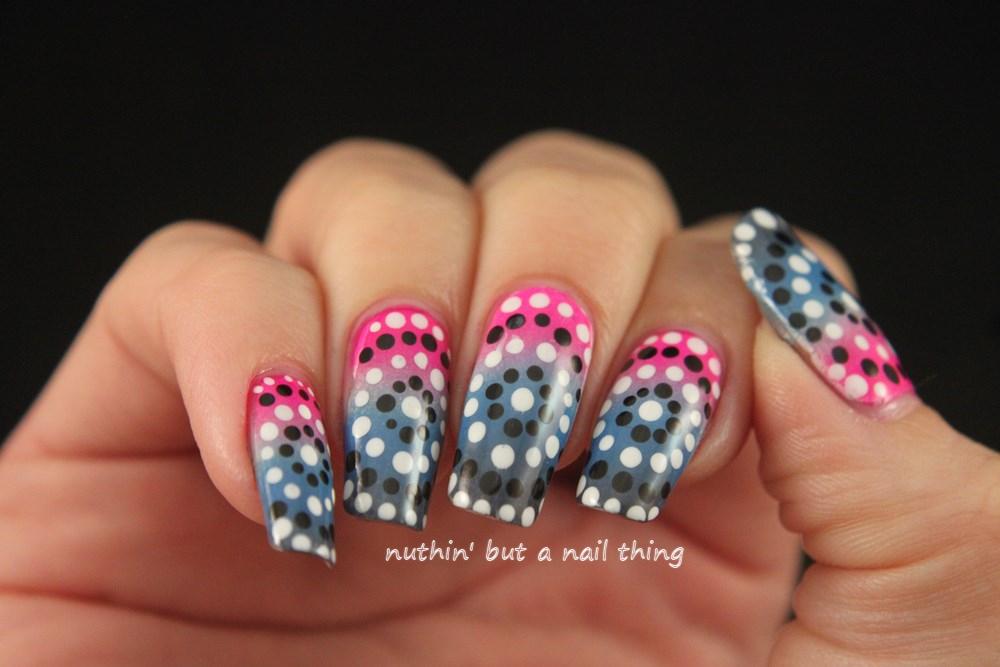 Gradient and circle polka dot nail art