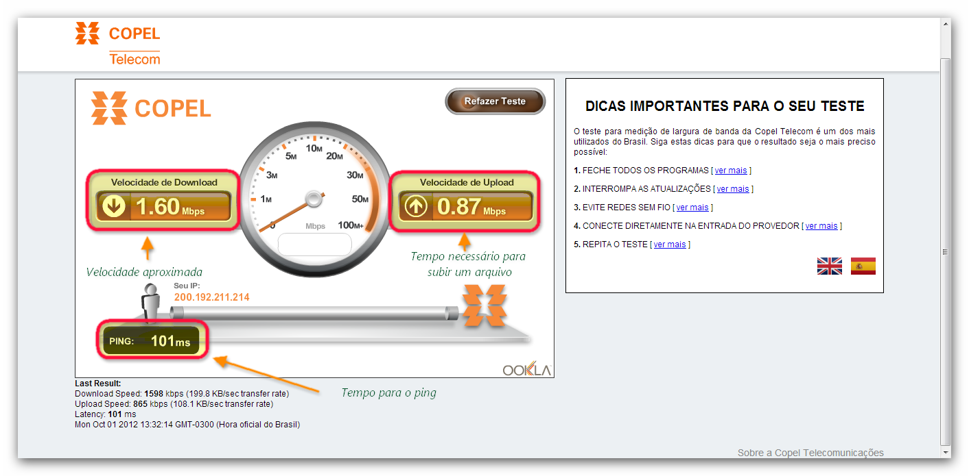 copel speed test net