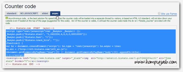 Kode Javascript Histats