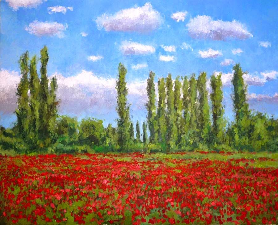 Cuadro al oleo de un paisaje de flores
