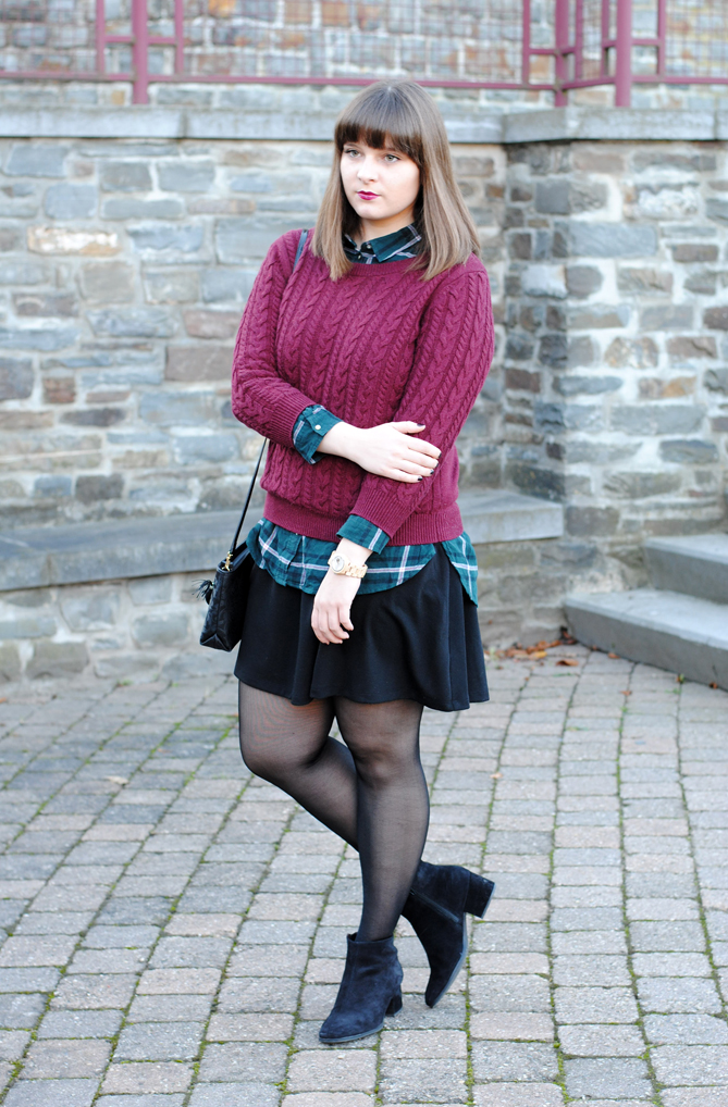 red green tartan sweater festive outfit