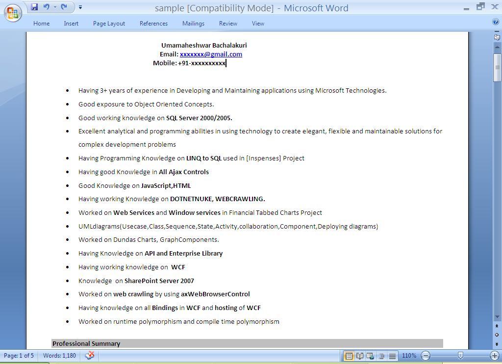 mahesh info resume preparation