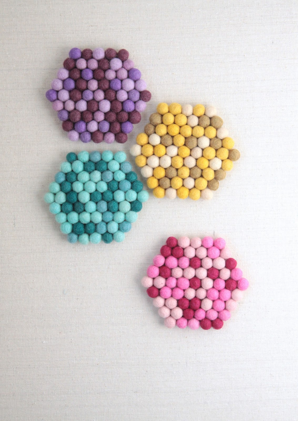 Hexagon Trivets // Felt Balls // Benzie Design