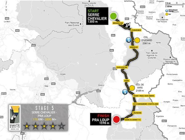 carte de l'étape 5 de la haute route