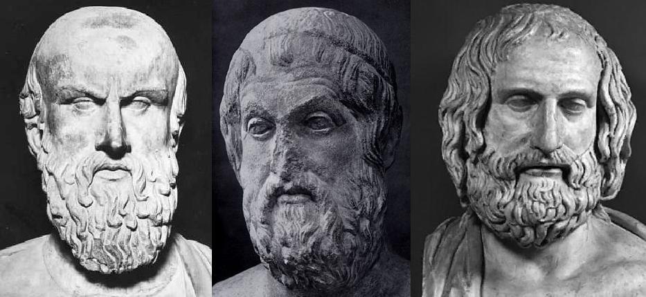 Esquilo, Sófocles, y Eurípedes.