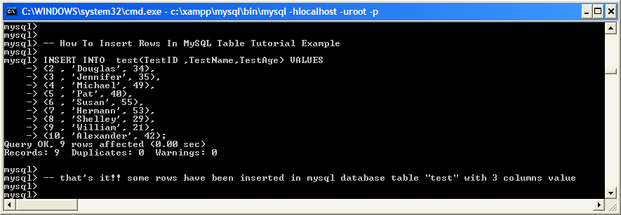 Examples Insert Rows In Mysql Table Tutorial Example