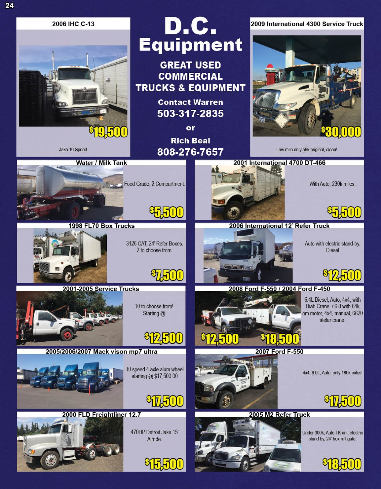 D.C. Equipment Great Used Commercial Trucks and Equipment!!
