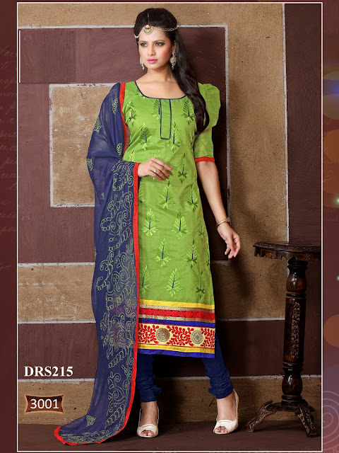 New Arrival Embroidery Churidar Cotton Dress Material