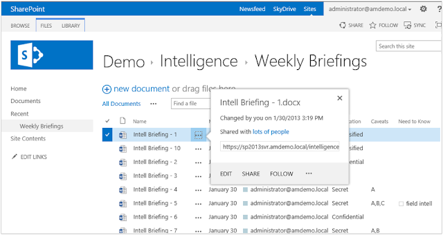 Accessing SharePoint sharing capabilities