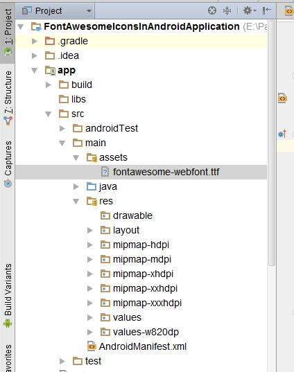 Font Awesome fontawesome-webfont.ttf file directory in android studio project