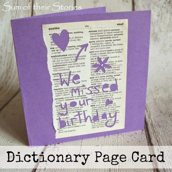 Dictionary Page Card