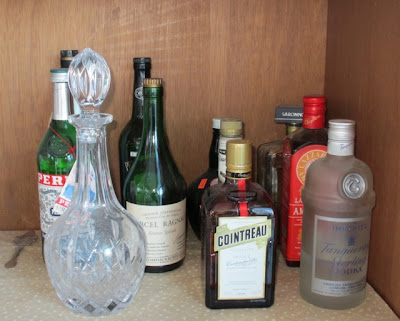 Jeri Dansky's kitchen cabinet where liquor is stored