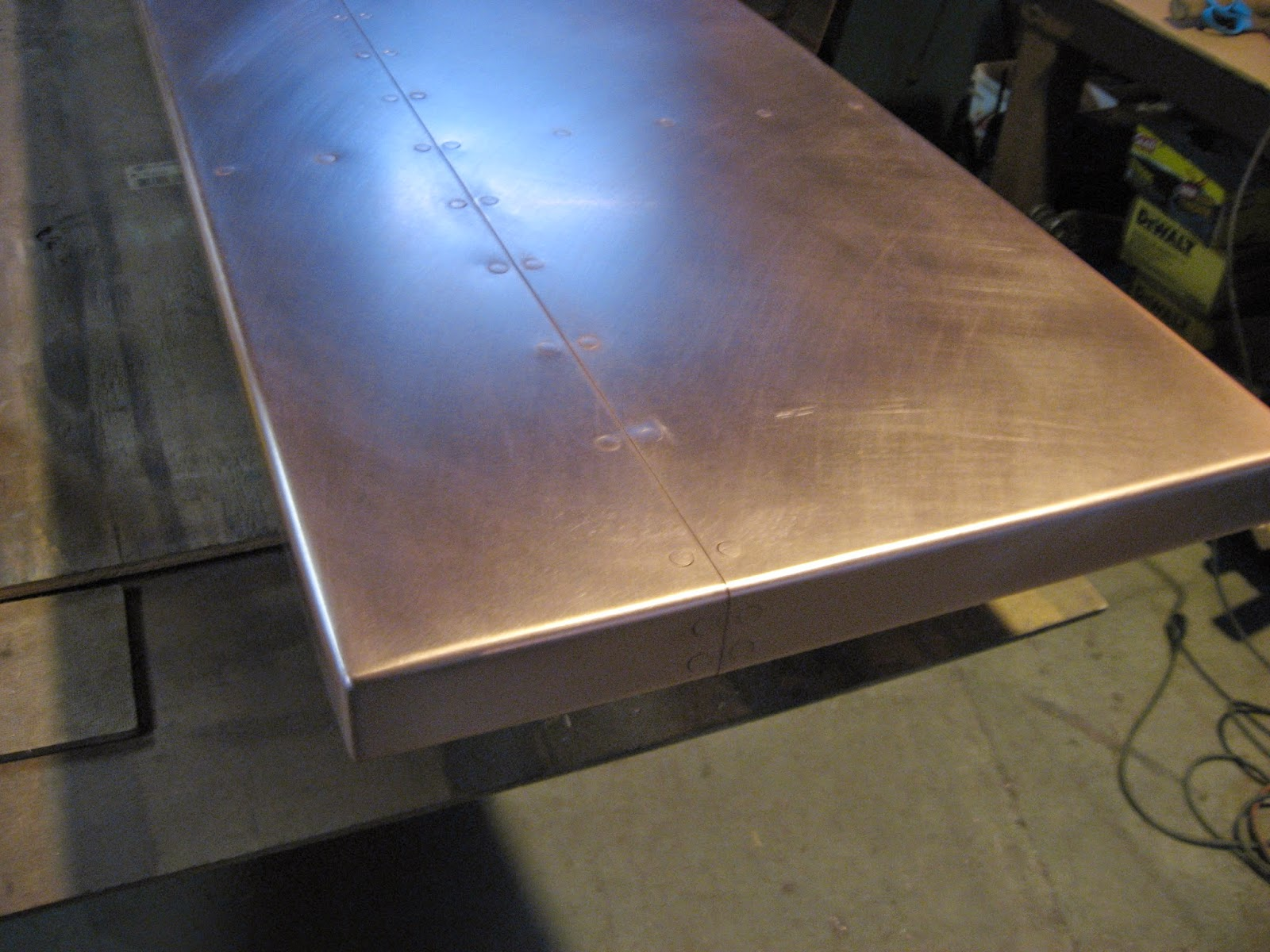 72 Oz Copper Bar Top Fully Welded And Finished Corners Counter Sunk Riveted Seams