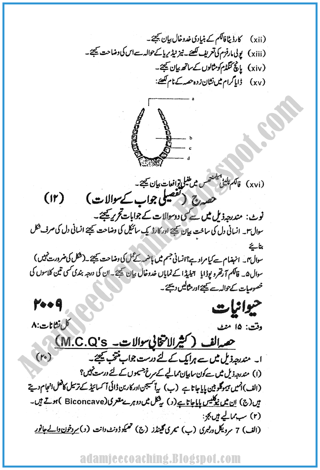 Zoology-urdu-2010-past-year-paper-class-XI