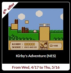 From Wednesday, 4/17 to Thursday, 5/16, the Wii U Virtual Console version of Kirby's Adventure will be available for 30 cents