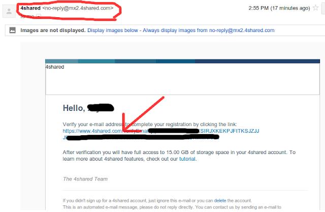 cara memverifikasi email dari 4shared