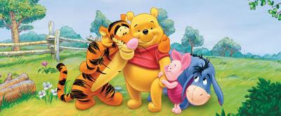 Ursinho Pooh e turma numa imagem clássica dos desenhos.