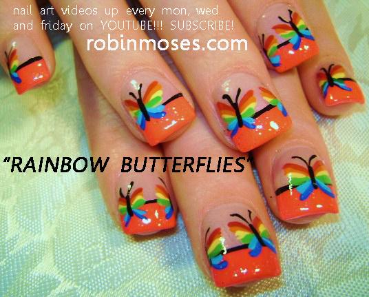 RAINBOW BUTTERFLIES Nail Art Design HAWAIIAN SPLASH Tutorial Simple Tulips For Short Nails Tutorials Up Wednesday