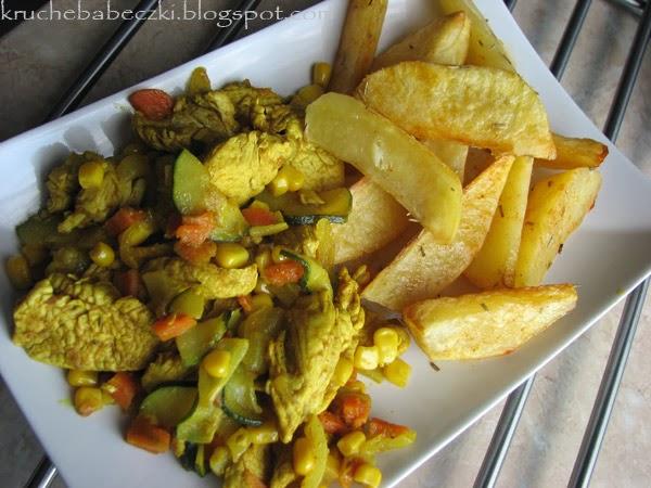 Indyk curry i ziemniaczki pieczone :)