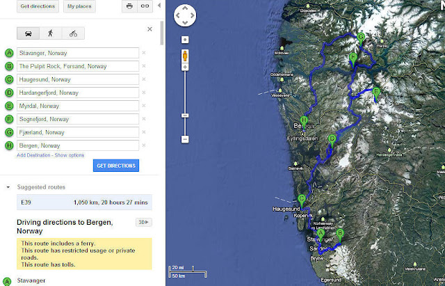 My charted course from Stavanger through the fjords and back to Bergen where we'll say good-bye to Norway.