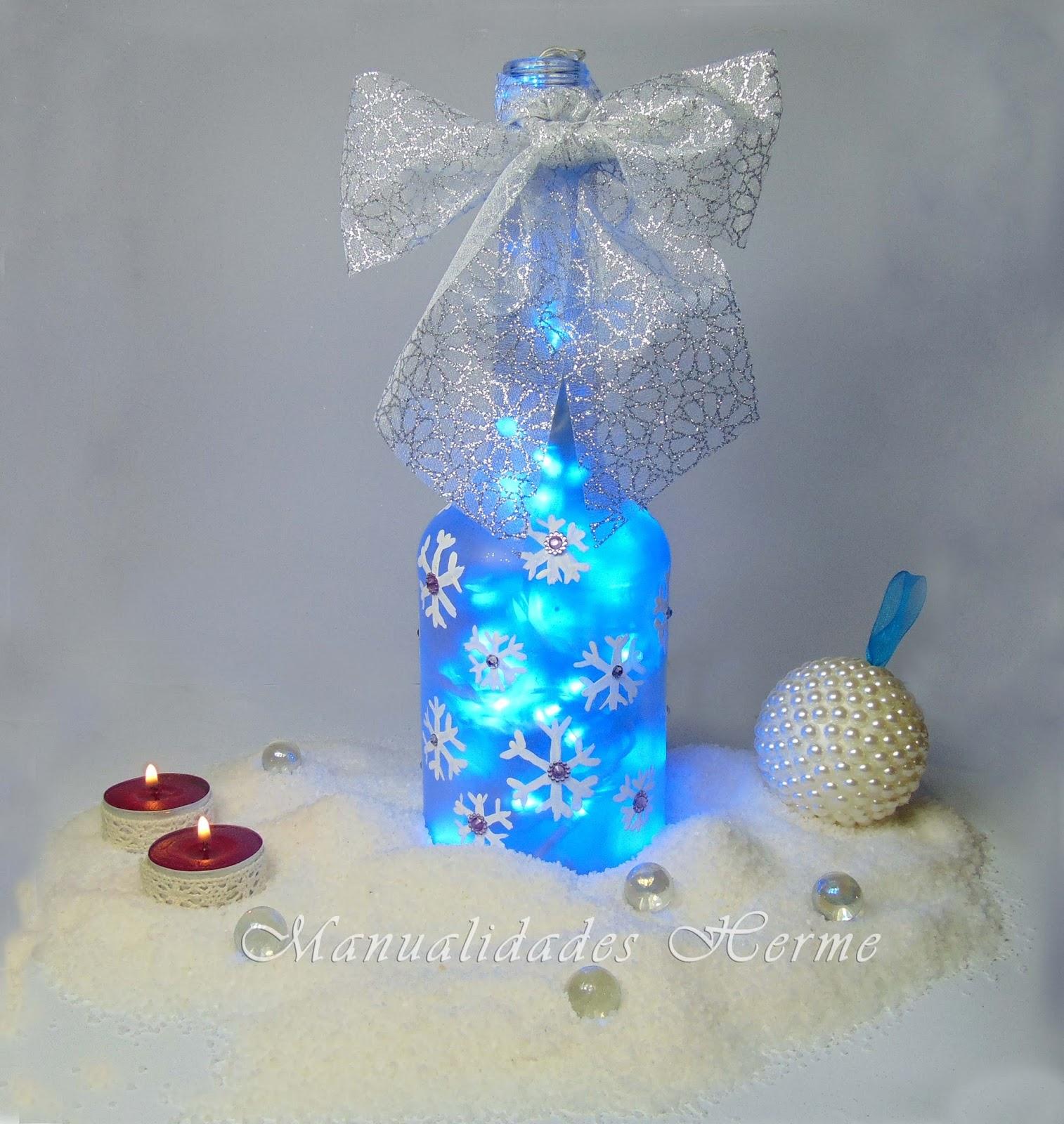 Manualidades herme como decorar una botella para navidad for Como decorar unas