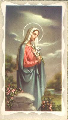 postal religiosa antigua de la Virgen